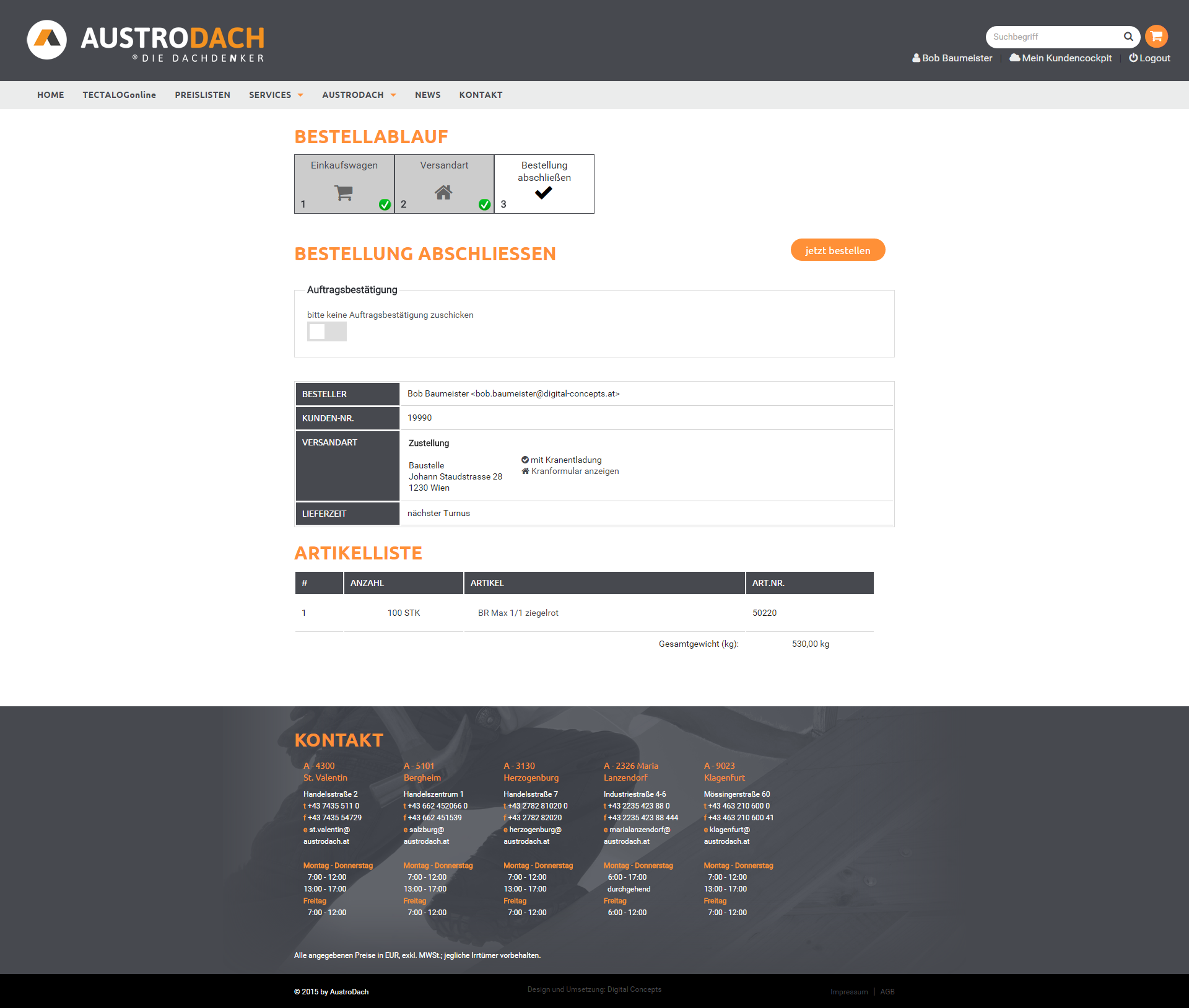 Screenshot Austrodach Checkout